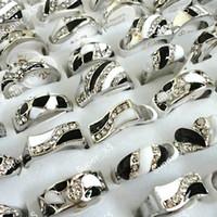 Wholesale Enamel Alloy Rhinestone Rings - Fashion Top Enamel Rhinestone Silver Plated Rings For Women Jewelry Wholesale Bulk Lots LR095 Free Shipping
