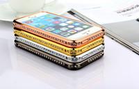 iphone bumper bling crystal al por mayor-Para iphone 6 más Luxury Crystal Rhinestone Diamond Bling Metal bumper cubierta de la caja para el iPhone 6 5 5S samsung s5 S6 S7