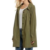 Wholesale Trench Coat Waterproof Woman - Autumn Casual Outwear Women Hooded Coat Solid Loose Street wear Trench Long Sleeve Light Waterproof Jacket Outdoor Rain Coat