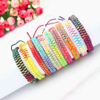Wholesale Bangles Strings - 10 Colors Bohemian Brand Bangle Weave Cotton Friendship Bracelet Woven Rope String Friendship Bracelets For Best Friends