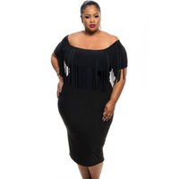 Compra Vestito Nero Dal Manicotto Di Spandex Nero-Stile estivo Le donne vestono plus size 2016 new Black / Rosy manica corta Fringe Top Plus Size Dress