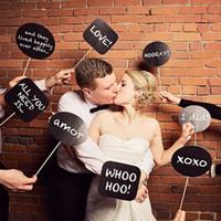 hochzeitsstand requisiten großhandel-Heißer Verkauf Foto Booth Props Hochzeit oder Verlobung Photo Booth Zeichen Set von 10pcs Kreide Boards DIY-Dialog für die Aufnahme von lustigen Fotos in Party