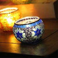Wholesale MOSAIC CANDLE HOLDER TEA LIGHT CUP HANDMADE GLASS BLUE DECORATION HOME ROMANTIC