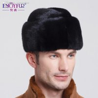 Wholesale Genuine Fur Bomber Hats - Winter Genuine Men Mink fur hat new 2015 hot top russian bomber hat Black and Brown colors multi size fit all warm caps
