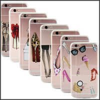 Wholesale Iphone Case Leopard Crystal - Crystal Clear TPU High-heeled Lipstick Red Lips leopard print Phone Case Protective Fashion Ultra Thin Cover for iPhone 5 5S SE 6S 6 Plus