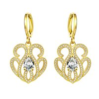Wholesale 14k Pink Diamond - Noble Crown Luxury Queen Earrings of High Quality Classic Gold & Rose Gold Water Drop Diamond Dangle Christmas Gift on Wholesale
