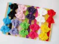 Wholesale Latest Baby Hair Band - New latest European and American children hair ribbon lace bow hair band Baby Hair Accessories 10 color to choose 1606