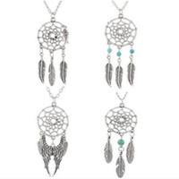 Wholesale Unique Style Necklaces - 1 pc hot sale Unique Design Retro Dream Catcher Pendant Faddish Special Chain Necklace 4 style fine jewelry