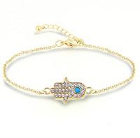 ingrosso oro del braccialetto della mano di hamsa-Bracciali per donna moda Hamsa cristallo Mano di Fatima turchese Pietra placcata oro 18 carati Bracciali Gioielli per donna