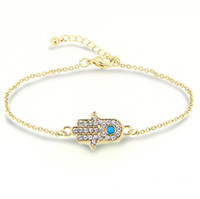 Wholesale Hand Bracelet For Women - Bracelets for Women fashion Hamsa crystal Hand of Fatima turquoise Stone 18K gold Plated Bracelets Jewelry for women