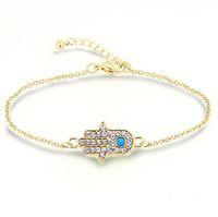 pulsera de mano fatima oro al por mayor-Pulseras para mujer Moda Hamsa crystal Mano de Fátima Turquesa Piedra 18K chapado en oro Pulseras Joyas para mujeres
