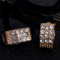 Atacado- H: Jóias de Moda HYDE Gold Color White 13mm Small Round Crystal Cute Zircon Earrings For Women Hoop Earrings