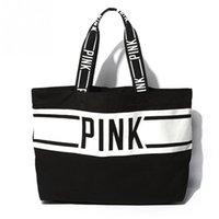 Wholesale Hot Girl Open - Wholesale-2016 Hot Brand Women Canvas Handbags Large Space open Shoulder Bag letter Pattern Girls ladies shopping travel bags