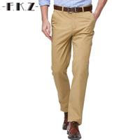 3fb31f3e90e Al por mayor-FKZ Moda Pantalones largos de color caqui Diseñador masculino  Marca de algodón de pierna recta Stretch Hombres de negocios Pantalones de  vestir ...