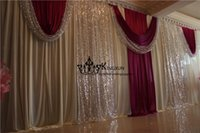Wholesale Ivory Wedding Backdrops - Cheap Price 1 Set Ivory Wedding Backdrop Drape Wine Red Color Swag With Backdrop Pipe Stand