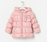 Wholesale Za Baby - Wholesale-1pcs lot,Free shipping winter New baby wear,za** brand design baby coat,children Cotton coat.red,pink,beige