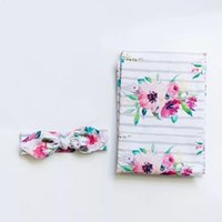Wholesale Blankets For Newborns - 2017 Newborn Baby Floral Striped Swaddle Blanket With Headwrap Hospital Swaddled Sets For Photograph Props