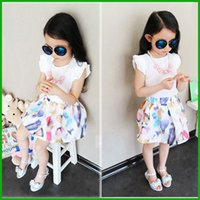 Wholesale Baby Boy White Dress Shirts - Children girls dress suits white short t-shirt floral femal make-up decoration fashion dress suits baby boys girls outfits free shipping