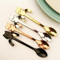 Wholesale iced coffee wholesale - Hot Cute Cartoon Cat Stainless Steel Tea Coffee Kids Feeding Spoon Ice Cream Tableware Baby Xmas Gift