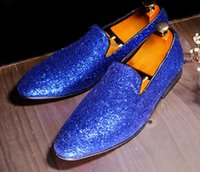 chaussures de sport plates bleu royal achat en gros de-Mode Hommes Brillant Glitter Casual Chaussures Chaude Conception Hommes Appartements Royal Bleu En Cuir Plat Mocassins Parti Robe Chaussures Homme Taille 38-44