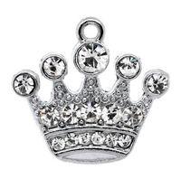 чары оптовых-Бесплатная доставка! 10 серебряных тонов горный хрусталь корона шарм подвески 21x20 мм (B10355) оптовые ювелирные изделия делает горячие продажи