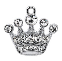 Wholesale crowns charms for sale - Group buy Silver Tone Rhinestone Crown Charm Pendants x20mm B10355 jewelry findings making hot sale