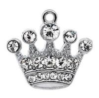 gümüş takılar toptan satış-Ücretsiz kargo! 10 Gümüş Ton Rhinestone Taç Charm Kolye 21x20mm (B10355) sıcak satış yapma toptan takı bulgular