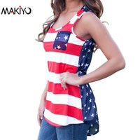 Wholesale Summer Tanks Shirts For Women - Wholesale-NEW Summer Sexy Women Sleeveless Tops American USA Flag Print Stripes Tank Top for Woman Blouse Vest Shirt *35