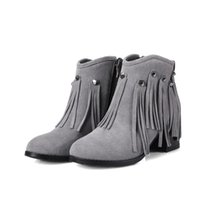 Wholesale Fine Zip - Ankle boots round toes chunky heel new Autumn And Winter Comfort genuine leather diamond fine shoes