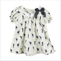 Wholesale Deer Pattern Dress - 2016 Summer New Girls Deer Fawn Pattern Shirt Baby Girl Short Sleeve Blouse Tops Kids Clothing Cute Girls Bowknot T-shirt Fashion Girl Dress