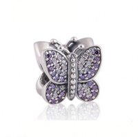Wholesale Purple Butterfly Charm Bracelet - Pave CZ Butterfly Charm Beads Authentic 925 Sterling Silver Butterfly Animal Beads Fits Pandora Bracelet Diy 2016 Fine Jewelry HB21