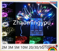 Wholesale Mouse Decorations - YON 5PCS With Battery Holder 4.5V 2m 3m 5m 10m 20 30 50 100LED Copper Wire LED String,Starry Lights,For Holiday,Party,Wedding Decoration