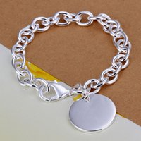 Wholesale Silver 925 Rough - wedding Round card rough 925 silver charm bracelet 8inchs DFMWB270,women's sterling silver plated jewelry bracelet