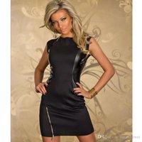 ingrosso mini roccia sexy-Moda New Rock Nero Design Dress Top PU Leather Sexy Dance Club Wear Style Patchwork Abbigliamento donna Novità Zipper Dresses