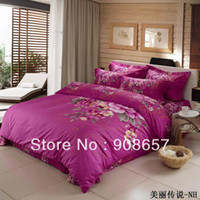 Wholesale Magenta Bedding Sets Flowers - vivid magenta peony flowers cotton bedding cheaper duvet quilt covers Queen full bed in a bag set 4pc for girls comforter cover