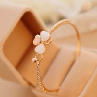 Wholesale Perfume Sets For Women - XS Exquisite Luxury Small Perfume Peach Heart & Clover Bangle for Women Opal Full Crystal Bracelet Wholesale