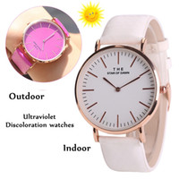 Wholesale Wholesale Ladies Leather Dresses - Luxury Women Thermochromic Change Color Watch Watches PU Leather Strap Ultraviolet Discoloration Wristwatches Ladies Girl Casual Dress Watch