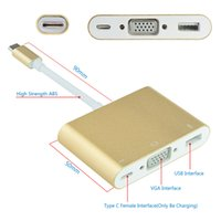 Wholesale Wholesale Quantity Usb - 2017 High Quantity USB Type-C To VGA HDMI HUB CHARGE 3 IN 1 HD TV Adapter Cable For MacBook Huawei
