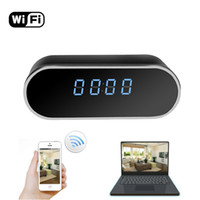 Wholesale Hd Table Clock Hidden Camera - Wireless Hidden Spy Camera Network IP Nanny Cam HD 1080P WiFi Home Security Camera Black Cube Table Alarm Clock Surveillance Mini DVR