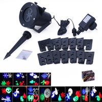 Wholesale Laser Christmas Lights Wholesale - Christmas Projector Laser Light 12 Replaceable Lens Colorful Patterns Night Light Wedding Fairy Garden Lawn Lamp Landscape