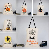 Wholesale bags bundle - Halloween Candy Bag Treat Canvas Satchel Rucksack Bundle Pocket Drawstring Storage Bag Hallowmas 48*36cm 24 Styles Free Shipping