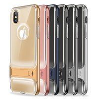 Para Iphone X Case 2in1 Clear Hybrid Soft TPU Hard PC capa traseira Case com Kickstand para iphone x 8 8plus