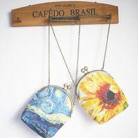 Wholesale Metal Handbag Frames - Girl Sunflower Artwork Chains Mouth Gold Cosmetic Mini Metal Frame Kisslock Bag Mobile Abstract Phone Card Key Women's Handbag Messenger Bag