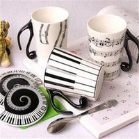 Wholesale Music Cup - Fashion Ceramics Cup Musical Note Stave Keys Pattern Music Mugs With Lids Handle Tumbler New Arrival 7 79tt B