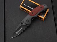 маленькое складное лезвие оптовых-Браунинг FA15 Маленькие карманные складные ножи 5Cr15Mov 57HRC Титановое лезвие с деревянной ручкой Тактическая утилита для выживания Охота EDC Инструменты Коллекция