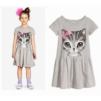 Wholesale Short Sleeve Cat Dress - Baby & Kids Clothing Girls' Dresses Summer Korean Preppy Style Cotton Boat Neck Short sleeve Animal cat Printed Knee-Length A-Line Dress