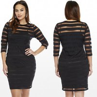 Wholesale Wholesale Plus Size Bodycon - Wholesale-Plus Size Fashion New Ladies Long Sleeve Bodycon Sexy Vestidos Party Evening Mini Mesh No Lining Dress XL XXL XXXL XXXXL