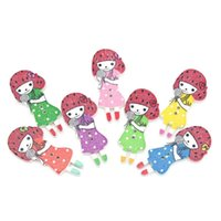 Wholesale Girl Wood Buttons - Radom Mixed 50PCS Cute Little Girl Wood Buttons Sewing Scrapbooking 3.7cmx1.7cm 2 Holes Collection Buttons For DIY Craft I231L