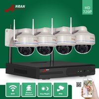 DHL FREE ANRAN P2P Surveillance Plug Play 4CH 720P Rede Wifi NVR 30 IR Vandalproof Dome Security CCTV Wireless IP Camera Video System