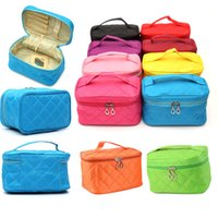 Wholesale Embroidery Cosmetic Bag - 10 colors 2 sizes can mix embroidery stitch line style toiletry travel wash organizer case cosmetic makeup bag
